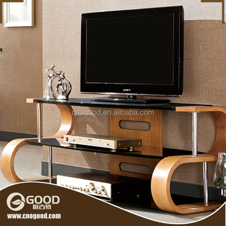 High Quality Wood Frame TV Trolley Stand Set