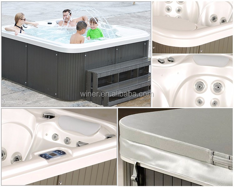 2016 CE certificated outdoor garden swimspa freestanding acrylic whirlpool sex massage balboa spa hot tubs made in china