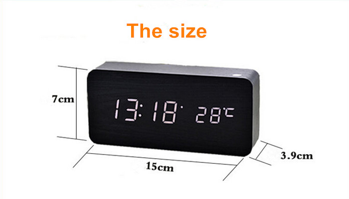 High voice control Quality Alarm Clocks kids with Thermometer,Big numbers Digital Clock,led Wood Clock dual LED Display Table C