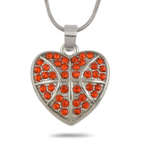 Lead Free Nickle Free Alibaba Online Wholesale Red Crystal Heart Shape Basketball Pendant Necklace