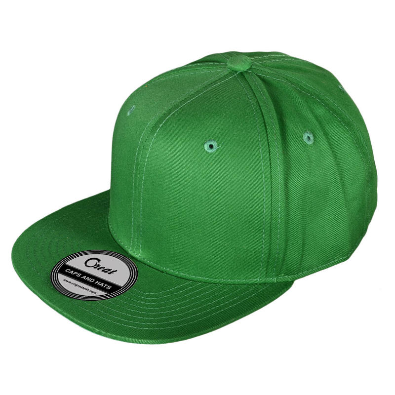Custom Green Plain Cotton 6 Panel New Africa Snapback Caps