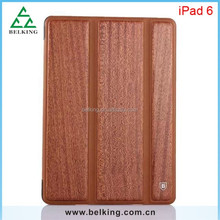 For iPad Air2 Folding Flip Clear Case, Hybrid Wooden Case For iPad 6