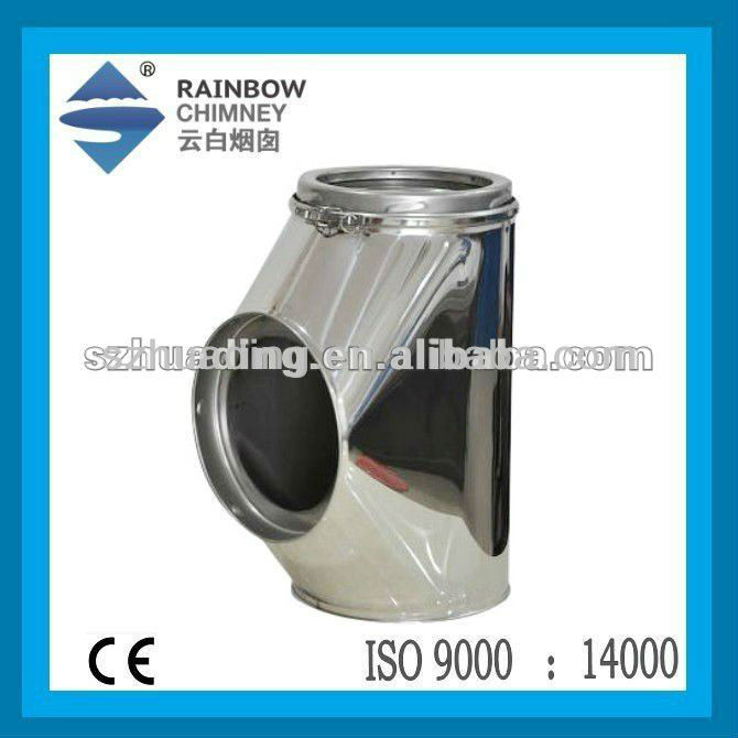 CE Double wall stainless steel 90 degree chimney tube tee with insulation chiminea chimney pipe fittings flue kits