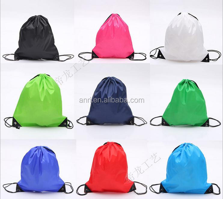 <strong>Nylon</strong> or cotton pouch with drawstring Oxford backpack bags Custom Logo Printing