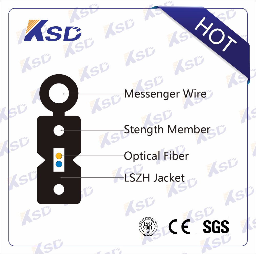 Low Smoke Zero Halogen 2 Core FTTH Self-supporting Bow-type Drop Cable