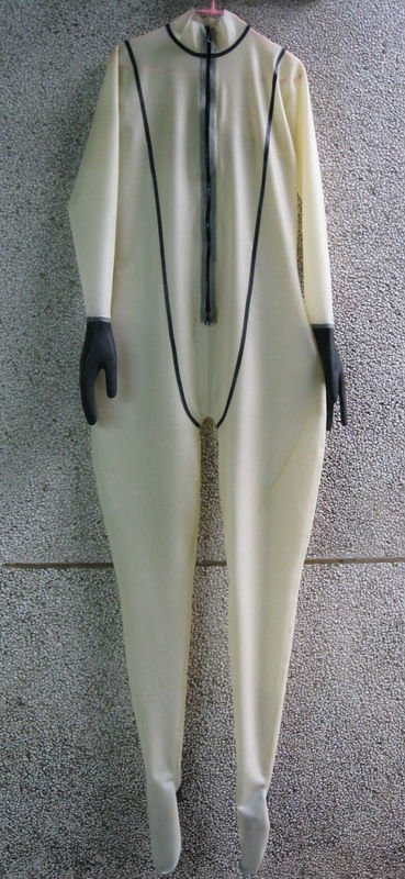 100% natrual latex hand made catsuit, attached gloves & feet
