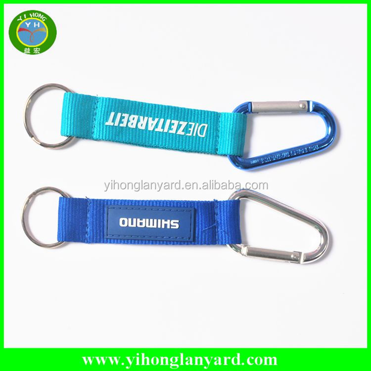 factory direct sell custom carabiner keychain short lanyard/short strap