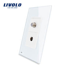Livolo US Satellite and TV Socket With White Pearl Crystal Glass electrical wall socket plugs VL-C591STV-11