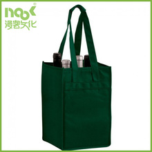 custom non woven bag 4 bottles wine tote bag