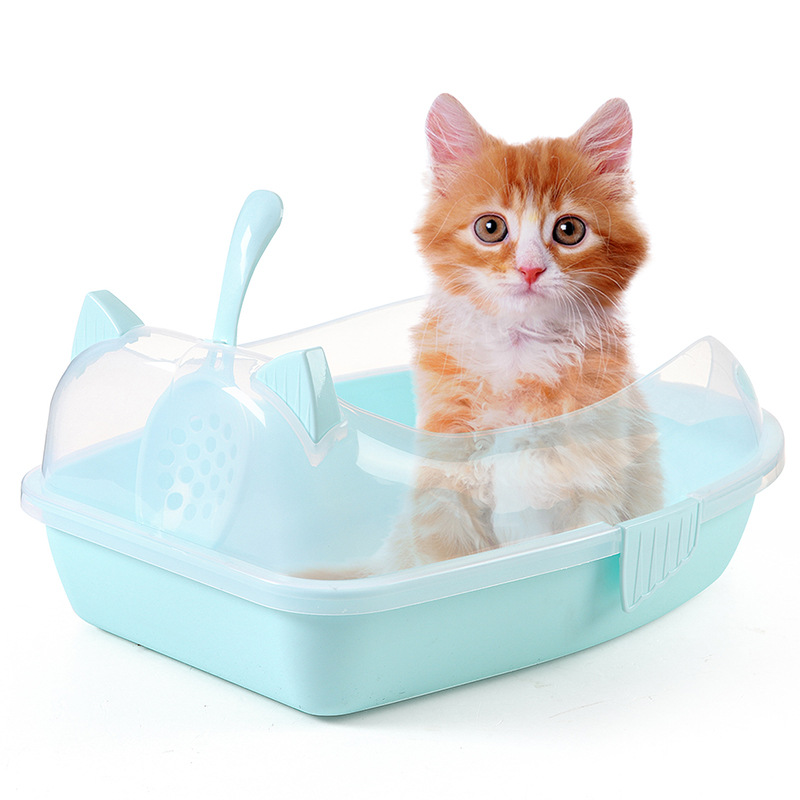 Cat Litter Tray, Pet Box Tray with or Pan Toilet Loo Kitten Basin Supplies Sand Bowl High Rim Sifting Sided Send Cat Litter