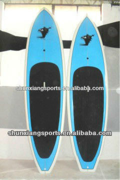 blue painted wooden cheap paddle board with surf wax