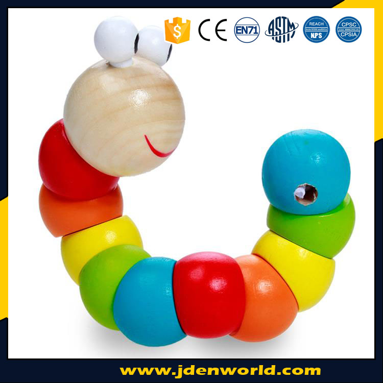Funny 12 month babies small worm colorful wooden toys for gifts