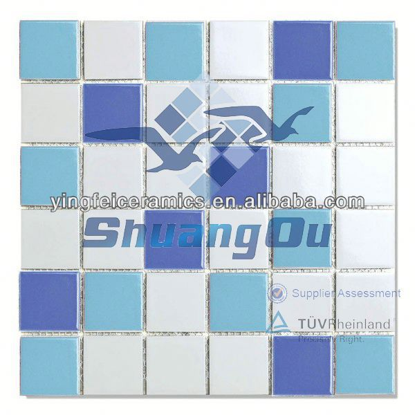 Foshan factory supply blue swimming pool floor mosaic tile for swimming pool,kitchen,bathroom,23x23mm 48x48mm