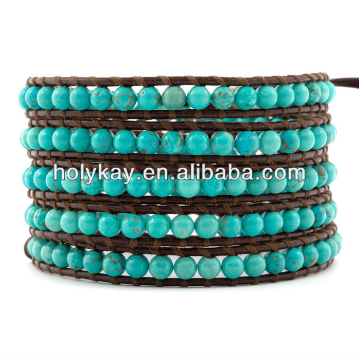 Hot sale five wrap turquoise bead bracelet,Personalized leather wrap bead bracelet,wrap around bead bracelet