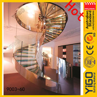 solid wood handrails round staircase\curved glass railing stairs