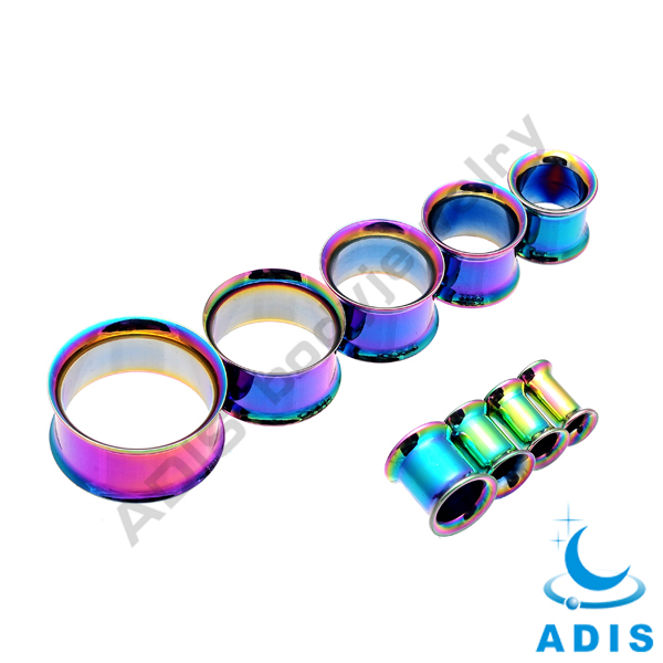 Stainless steel double flared IP plated cool ear tunnel piercing ear expander