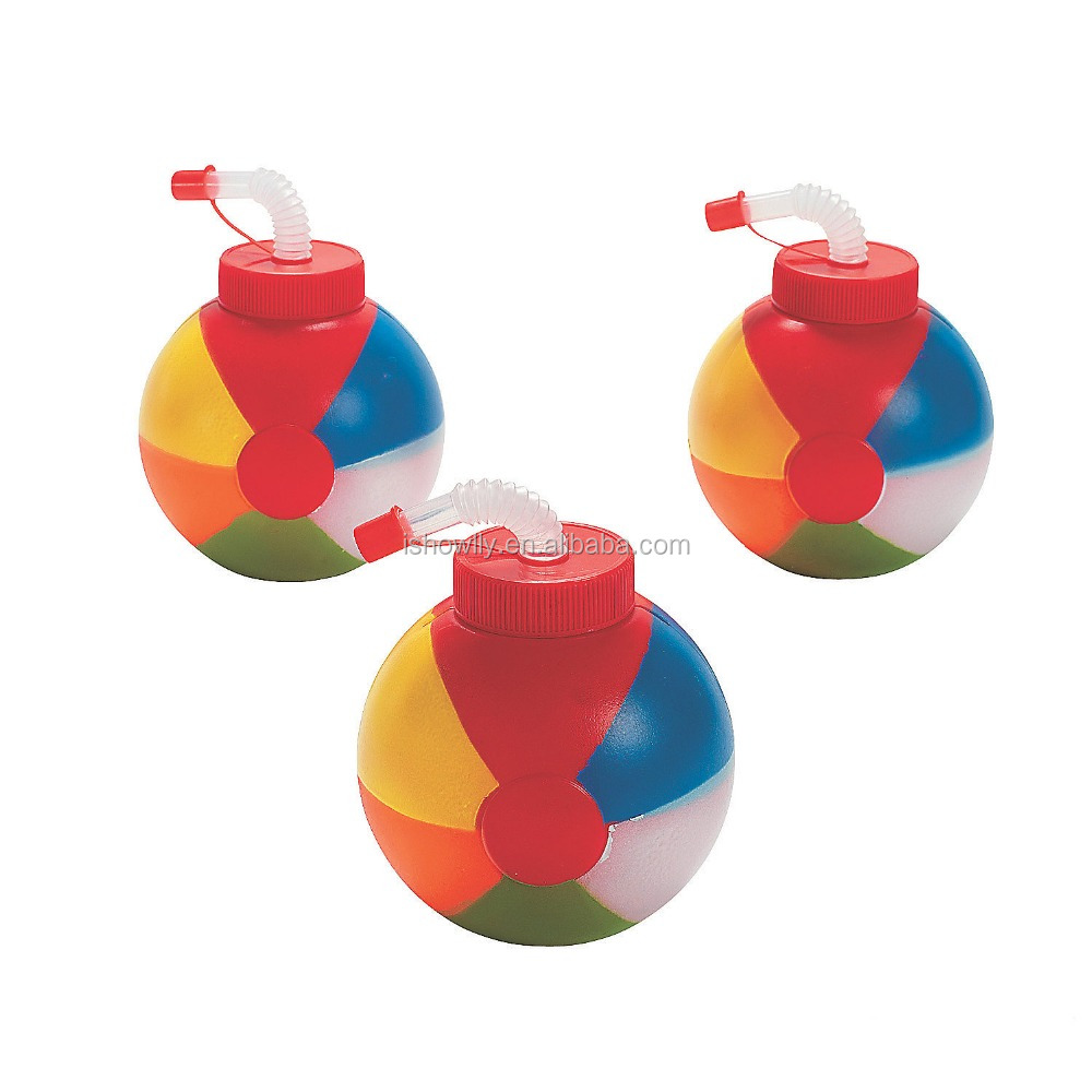 23 oz. 650ml 2017 New Custom Design Hot Sale Plastic Rainbow Beach Ball Shaped Cups with Lids and Straws Wholesale Manufacturer