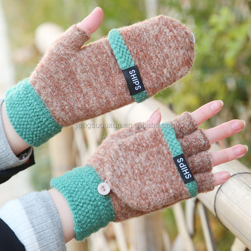 Wool Flip Cover Student Half Finger Write False Finger Gloves