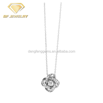 Platinum Plated Long Chain CZ Diamond Clover Wedding Pendant Necklace
