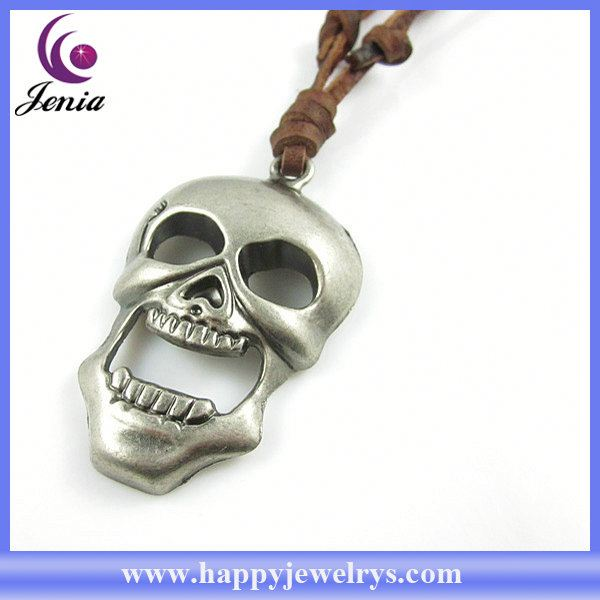 Unique design fashion genuine leather necklace with factory direct price necklace clasp stainless steel leather PL0404