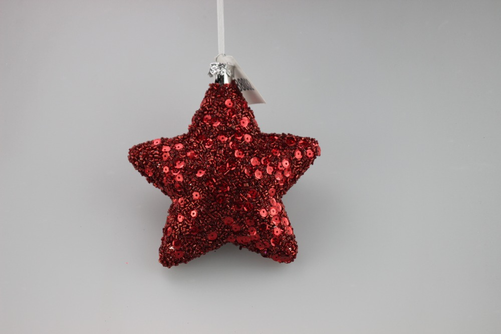 2016 new customize glass star for Christmas Trees Ornament with pearl