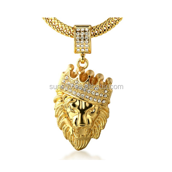 Stainless Steel Men's 18k Real Gold Plated Crown Lion Pendant Necklace With Free Sharktail Chain 30
