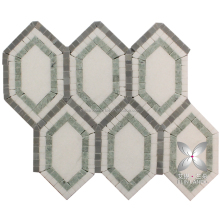 Hexagon multi color ming green mosaic tile