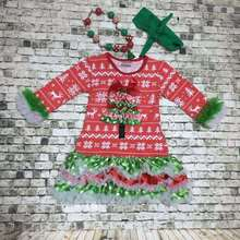 New design!!! Christmas grils dress baby kids Xmas tree Santa dress Best Christmas seller ruffle dress with accessories set