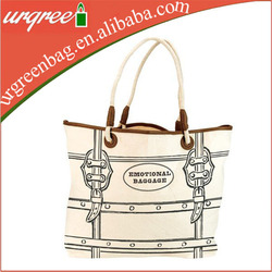Lined Rope Handle White Cotton Shopping Bags