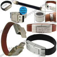 Metal bracelet usb flash stick, newest design leather usb memory