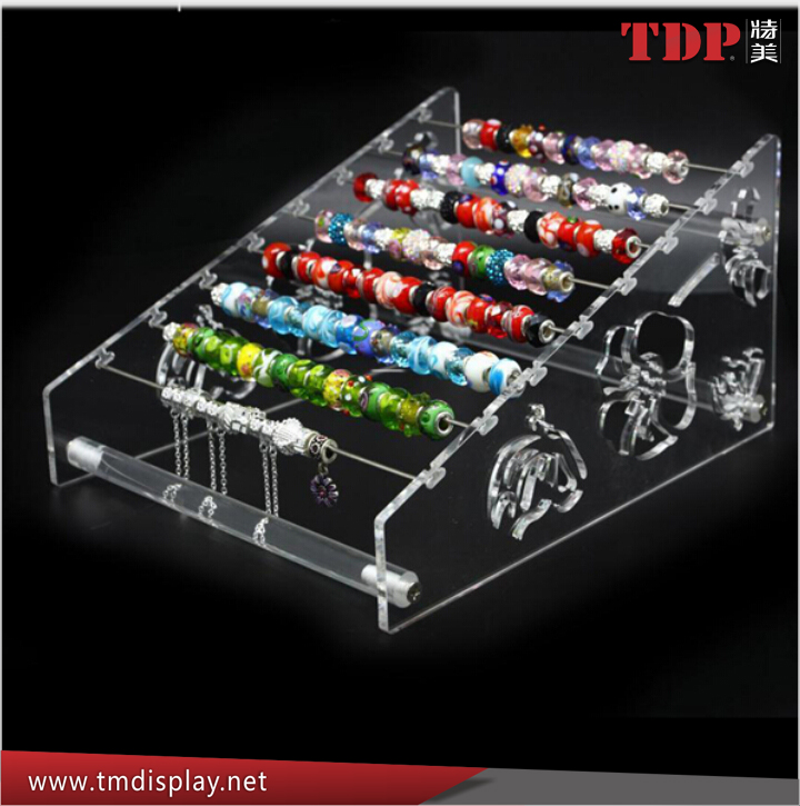factory custom design 2-way floral decor stand pandora charms beads bangle bracelet acrylic jewellery display
