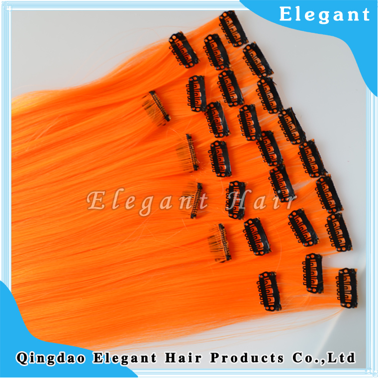 High quality Heat-resistant synthetic hair orange hair extension