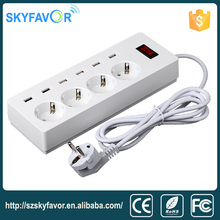 Surge protector 6 usb charger multi-port ac plug adapter electricity extension cords European standard power strip 4 gang exten