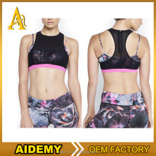 2017 latest fashion sexy sports bra sublimation bra with mesh design
