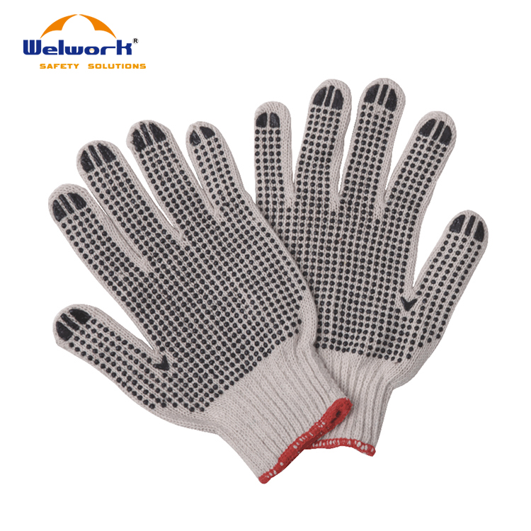 High Quality CE EN388 Cotton Drill Wing Thumb Knitted Wrist Multipurpose Gloves