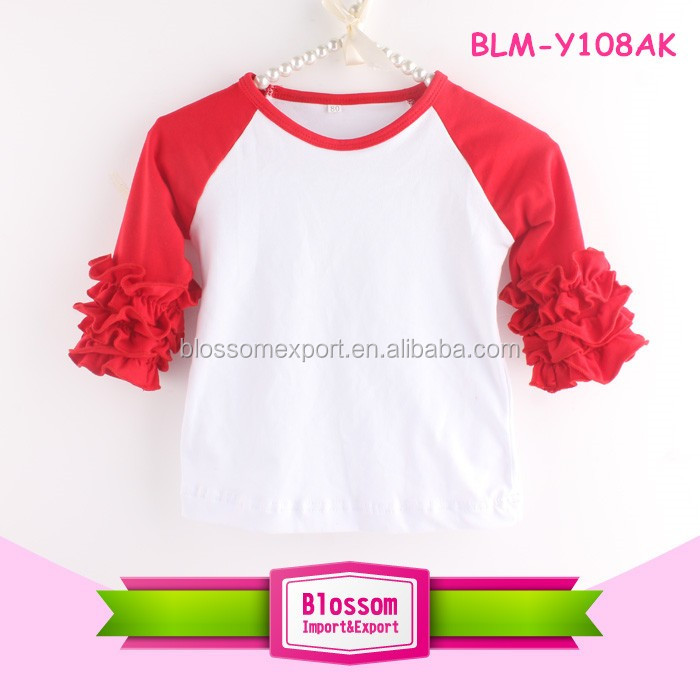 2017 Valentine Icing Design Wholesale long sleeves ruffle raglan t shirt icing ruffles toddler raglan