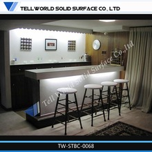 White led man made top illuminated led bar counter high gloss