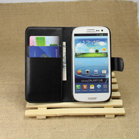 PU Leather flip wallet case cover for samsung galaxy s3 i9300