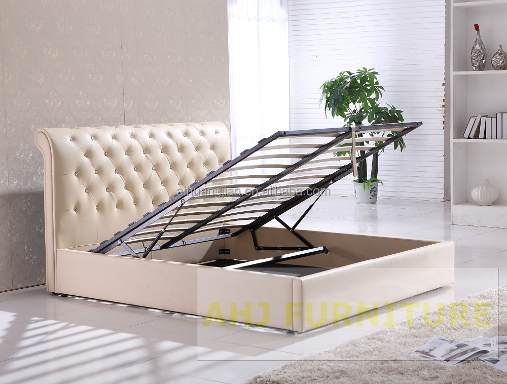 Hydraulic Bed Lift : Hydraulic lift up storage bed frame with gas