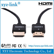 Ultra slim hdmi to din cable 2.0 with filter , fast delivery 19 pin connector hdmi cable plastic blister packaging for 4k 3d TV