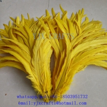 100pcs/lot wholesale dyed yellow cocktail 35-40cm chicken feather