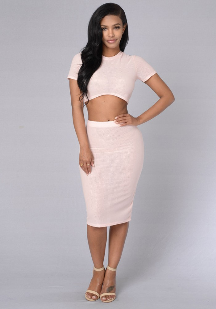 Latest fashion ladies western dress design short sleeve crop top and wrap skirt