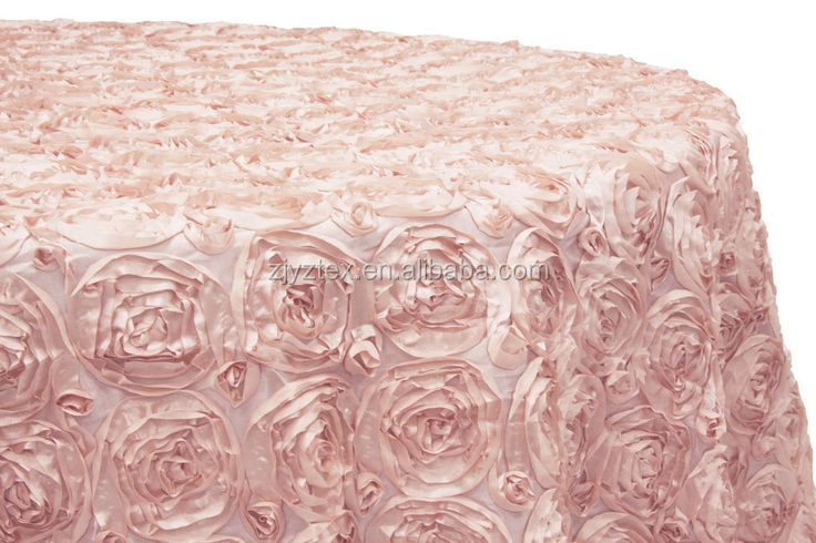 Fancy round table linen/luxury special embroidery pink satin rose hotel table cloth for wedding