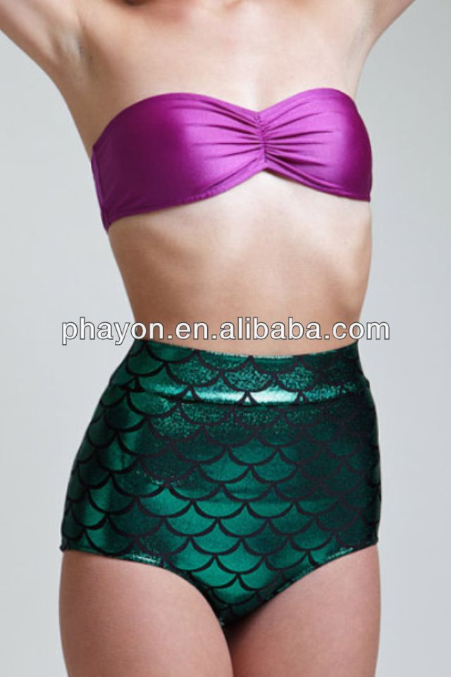 OEM&ODM strapless twist bandeau bathing suit,two pcs foil print bathing suits,Mermaid Bathing Suit
