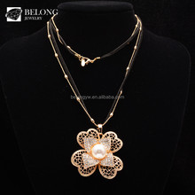 BLN0352 bohemian jewelry leather long chain 18K gold cz pearl flower pendant necklace