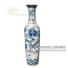 2.2 Meter And 6 Feet Tall Hand Painted Large Chinese Ceramic Floor Vases As Home Decorations, Ceramic vases