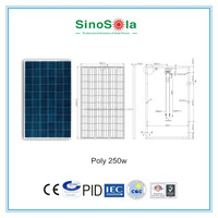 Easy Install Waterproof Solar Battery Charger 12V 250w poly solar panel for solar power system with TUV/PID/CEC/CQC/IEC/CE