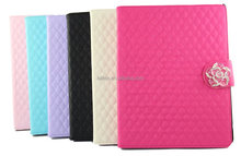 soft grid leather phone case with camellia for ipad 2 3 4
