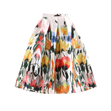 Autumn American and European Style Womens Floral Print High Waist Pleated Midi Circle Skirt Plus Size