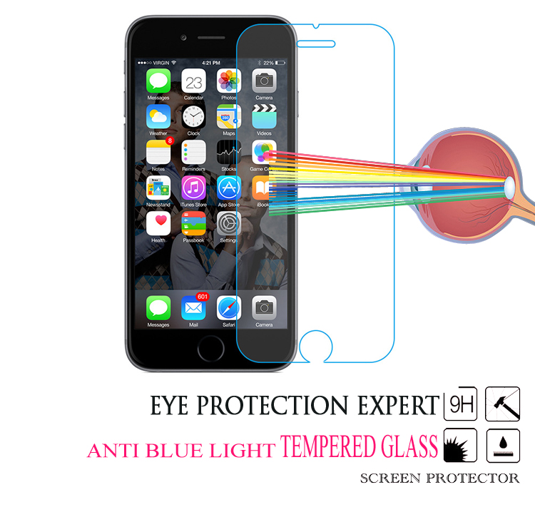 2016 9H Hardness Anti Blue Light Mobile Tempered Glass Cell Phone Screen Protector for iPhone 5 5S 6 6S 7